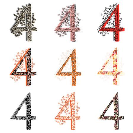 Set of variations fishnet (lace) numeric figures 4. Illustration