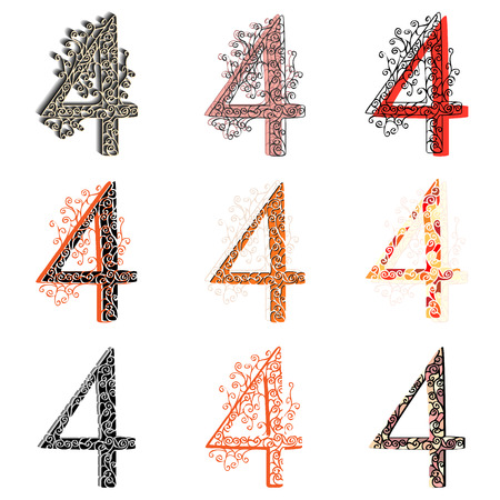 numbering: Set of variations fishnet (lace) numeric figures 4. Illustration