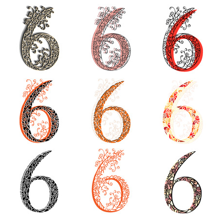numeration: Set of variations fishnet (lace) numeric figures 6.