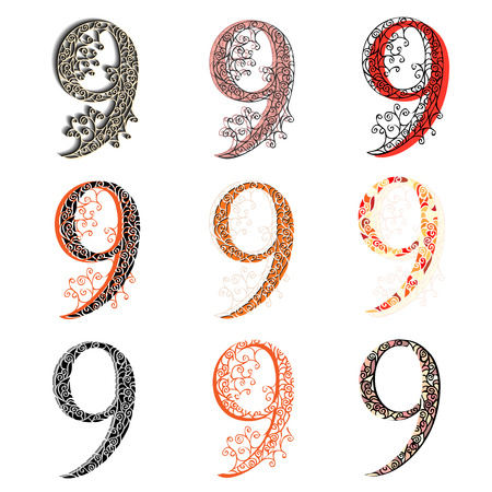 numeration: Set of variations fishnet (lace) numeric figures 9.