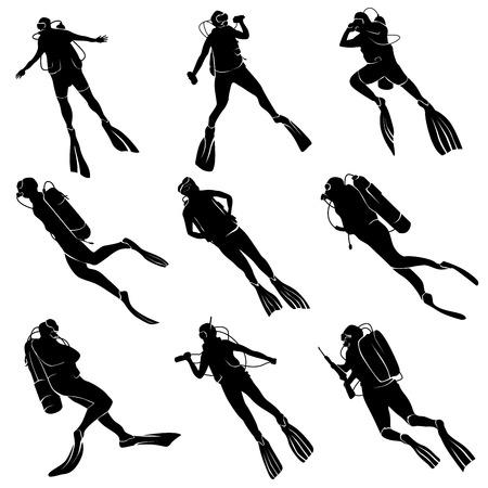 scuba diving: Set van silhouetten duiken in verschillende poses. Stock Illustratie