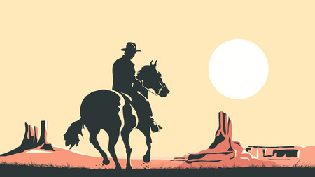 Horizontal cartoon illustration of prairie with hero of the wild West leaves in sunset. 일러스트