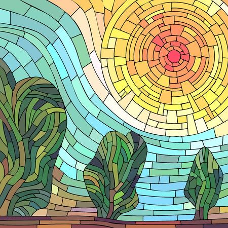 광장 모자이크 그림 배경 : 나무와 추상 붉은 태양.