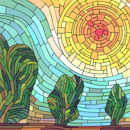 Square mosaic illustration background: abstract red sun with trees.
