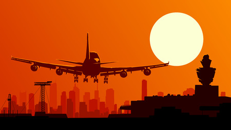 Vector horizontal illustration of airport with plane taking off at sunset.