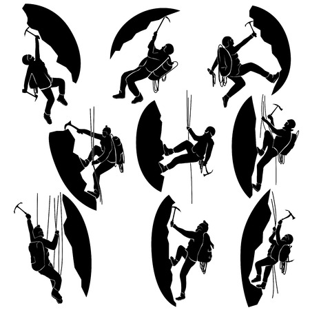 conquest: Set of vector silhouettes alpinists (climbers) with ice ax.