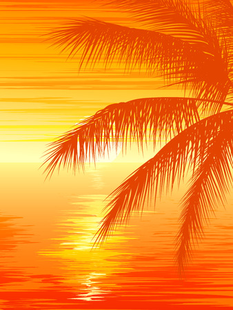 Vertical vector illustration of palm tree on beach at sunset.