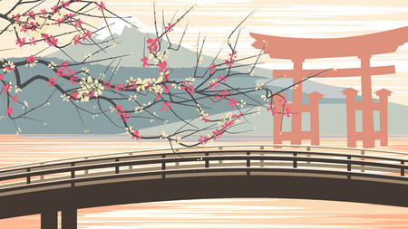 torii: Horizontal illustration with bridge, cherry, Torii, lake, mountain in Asian motive. Illustration