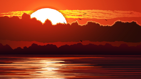 gloaming: Vector horizontal illustration of sunset with clouds and reflections on water in red tone.