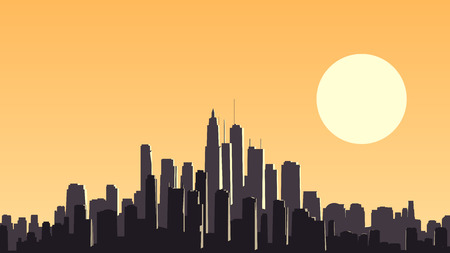 glare: Vector horizontal illustration of abstract big city and skyscrapers with glare from sun. Illustration