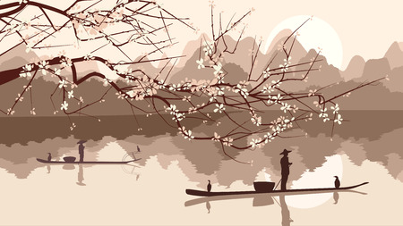 fisher: Vector illustration branch of cherry blossoms and fisherman fishing boats on lake against sun in Asian motive. Illustration