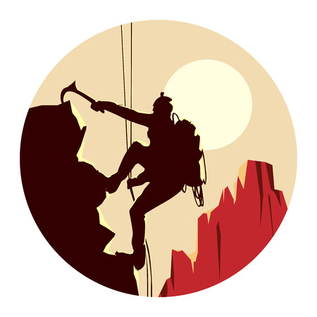 climbing: Abstract round of alpinists (climbers) with ice ax. Illustration