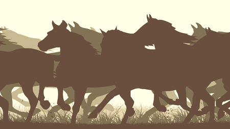 horse silhouette: Horizontal vector illustration prancing through grass herd of horses . Illustration