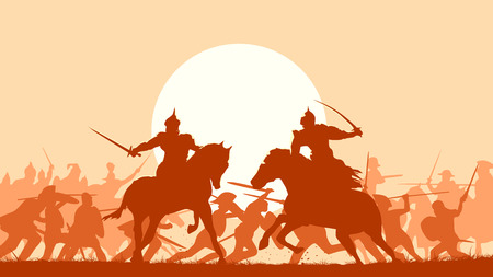 Horizontal vector illustration fight between two warriors on background of battle at sunset. 일러스트