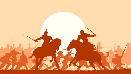 medieval: Horizontal ilustración vectorial pelea entre dos guerreros en el fondo de la batalla al atardecer.