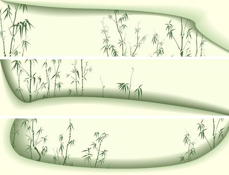 図形波形と竹の木図で影の水平方向の緑のバナーを設定します。