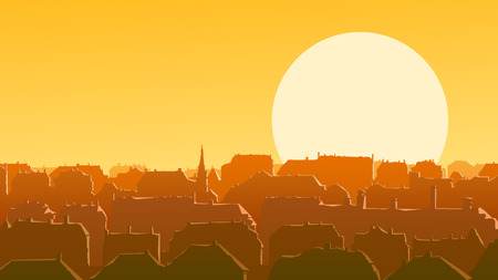 setting sun: Horizontal vector illustration of old historic European city and roofs reflect rays of the setting sun.