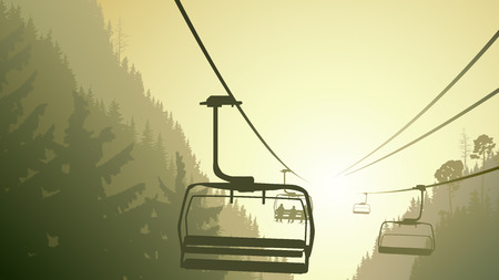Horizontal illustration mountains coniferous wood with ski lift in green tone. Vector