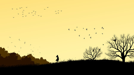 Horizontal illustration landscape with silhouette of lonely girl in field windswept. Ilustração
