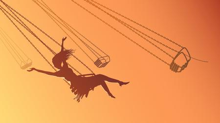 Vector horizontal illustration girl on swing carousel with background of orange sky. Illustration