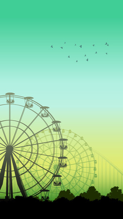 Vertical illustration of roller-coaster and Ferris Wheel from amusement park at green-blue sky.
