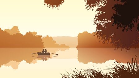 fishing boat: Vector panorama illustration of couple in boat on lake around trees.
