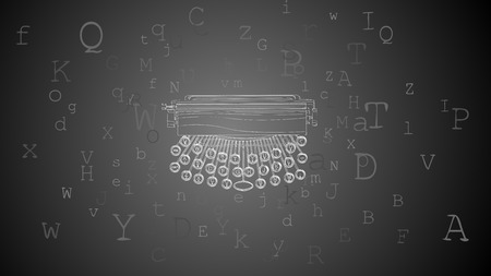 Vector horizontal abstract background of retro typewriter with keyboard and letters around.
