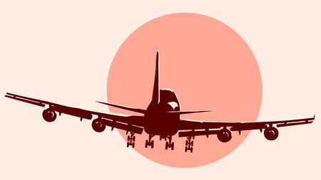 jet airplane: Abstract round logo of passenger airliner at sunset with glare.