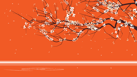 china art: Horizontal abstract illustration drawing of blossoming tree branch on orange. Illustration