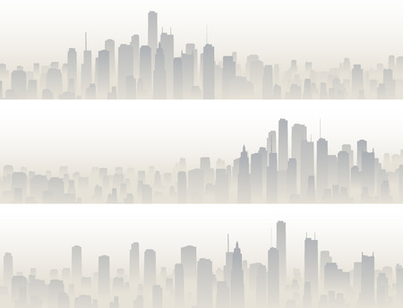 panorama city panorama: Set horizontal banners of big city with skyscrapers in haze. Illustration