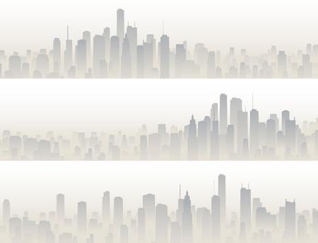 Stel de horizontale banners van de grote stad met wolkenkrabbers in haze. Stock Illustratie