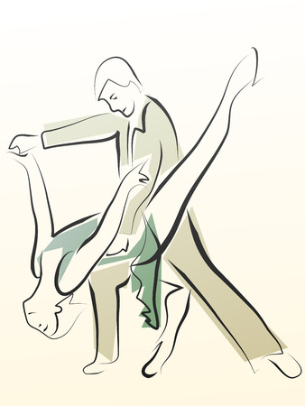 waltzing: Abstract illustration of dancing couple made in line style, for emblem. Illustration