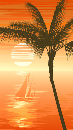 Vertical illustration of sunset in ocean with yacht, palm tree in orange tone.