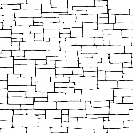 Seamless vector background of black and white stone wall ancient building with different sized bricks (drawn by ink).