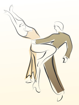 Abstract illustration of dancing couple made in line style, for emblem. Illustration