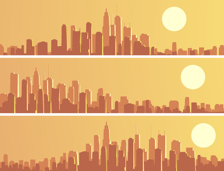 glare: Set horizontal banners of abstract big city and skyscrapers with glare from sun.