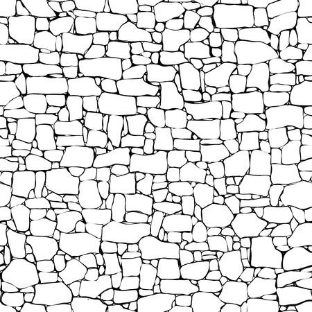 Seamless vector black and white background of stone wall ancient building with different sized bricks (drawn by ink). Ilustração