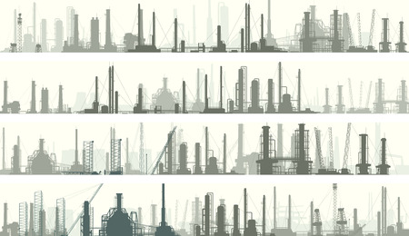 power plants: Set of horizontal banners industrial part of city with factories, refineries and power plants. Illustration