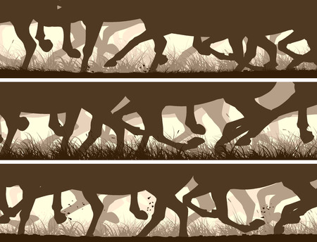 Set of horizontal vector banners prancing through grass galloping horses legs.