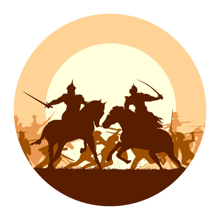 cavalry: Abstract round logo of illustration fight between two warriors on background of battle at sunset.