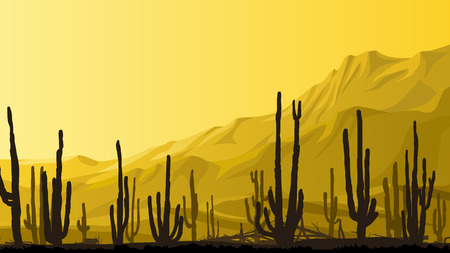 wilds: Horizontal cartoon illustration of valley with cactus and mountains in background in yellow tone. Illustration
