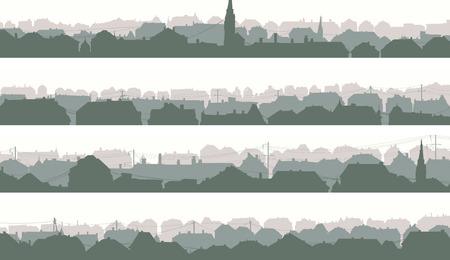 arbres silhouette: Ensemble de bannières horizontales de la vieille ville historique européenne dans le ton pâle du matin.