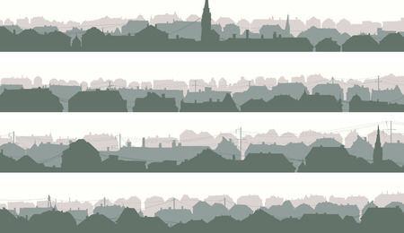 tree silhouettes: Set of horizontal banners of old historic European city in pale morning tone.