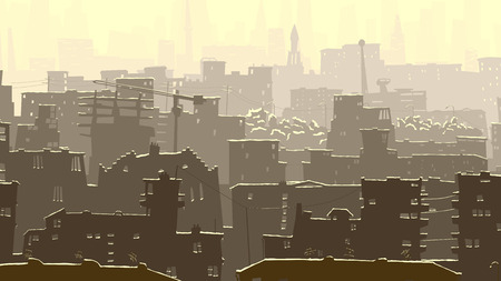 horizon: Vector horizontal abstract illustration of big city with snowy roofs, windows and skyscrapers in winter.