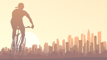 glare: Horizontal illustration of lonely cyclist rides at sunset on background of big city and skyscrapers with glare from sun.