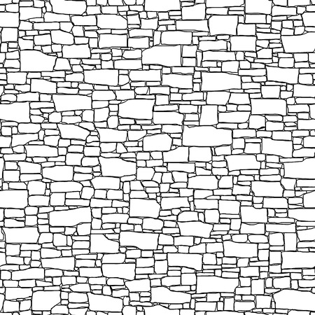 Seamless vector black and white background of stone wall ancient building with different shapes bricks (drawn by ink). Ilustração