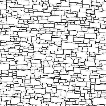 Vector inconsútil negro y fondo blanco del edificio antiguo muro de piedra con ladrillos diferentes formas (elaborado por la tinta).