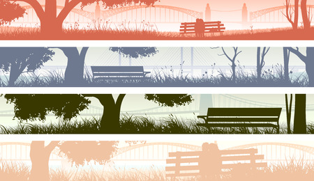 overlooking: Set abstract horizontal banners with trees, meadow and bench overlooking the bay bridge at sunset. Illustration