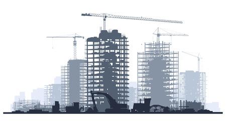 Lijn van silhouetten illustratie van de bouwplaats met kranen en wolkenkrabber met tractoren, bulldozers, graafmachines en grader in blauwe toon.
