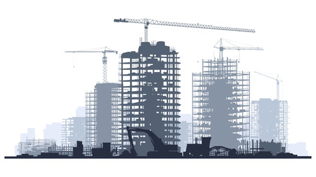 Linha de ilustração das silhuetas do canteiro de obras com guindastes e arranha-céus com tratores, escavadoras, máquinas escavadoras e graduador no tom azul. Ilustración de vector